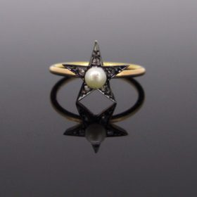 Victorian Star Pearl Diamond Ring