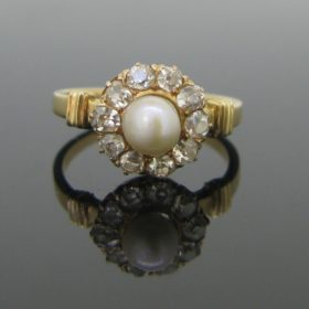 Victorian Pearl & Diamonds Ring
