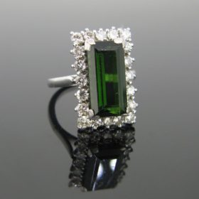 Tourmaline And Diamonds Cluster Ring