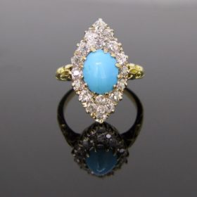 Victorian Turquoise Diamonds Ring
