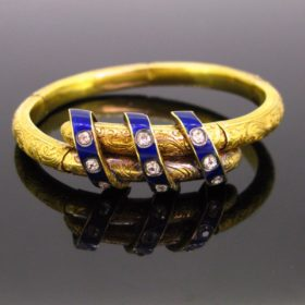 Victorian Enamel & Diamonds Bangle