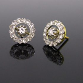 Edwardian Diamonds Studs, Gold & Platinum