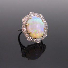 Opal Diamond Cluster Ring, 1940s