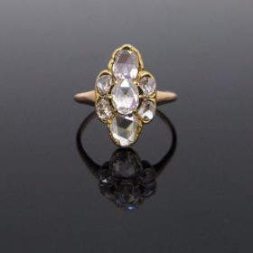 Victorian Rose Cut Diamonds Marquise Ring