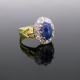 Cabochon Sapphire & Diamonds Cluster Ring