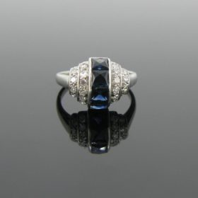 French Art Deco Sapphires Diamonds Ring