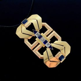 Art Deco Diamonds & Sapphires Pendant