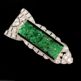 Art Deco Diamond Jade & Black Enamel