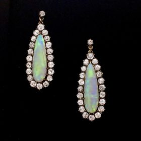 Victorian Opal Diamonds Earrings