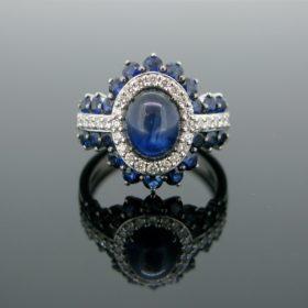Sapphire Cabochon & Diamond Ring