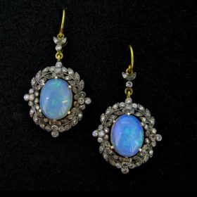 Victorian Style Opals Diamonds Earrings