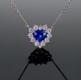 Sapphire And Diamonds Pendant On Chain