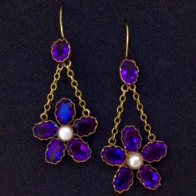 Victorian Amethysts and Pearls Earrings