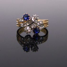 Antique French Sapphires Diamonds Ring