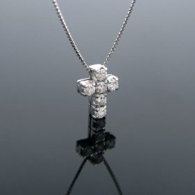 Contemporary Diamond Cross Pendant Necklace