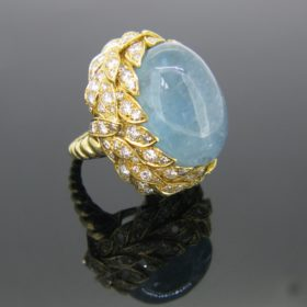 Aquamarine & Diamonds Textured Cocktail Ring
