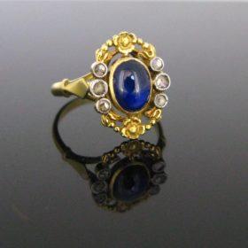 Art Nouveau Sapphire & Diamonds Ring
