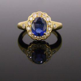 Sapphire Cluster Diamonds Ring