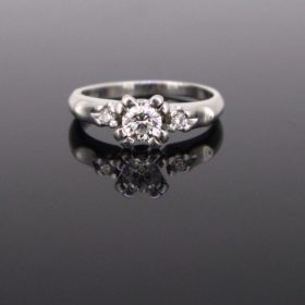Retro Solitaire Diamonds Engagement Ring