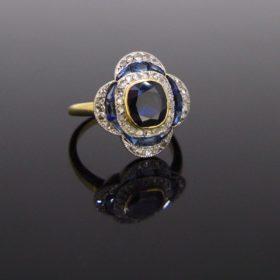 Vintage Sapphire Rose Cut Diamond Ring