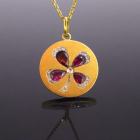Belle Epoque Ruby Garnet Diamonds Pendant