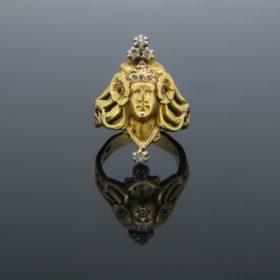"Art Nouveau ""Sarah Bernhardt"" Diamonds Ring"