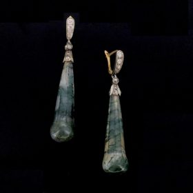 Antique Pair of Moss Agate Earrings