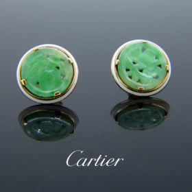 Art Deco Style Jade Studs by Cartier