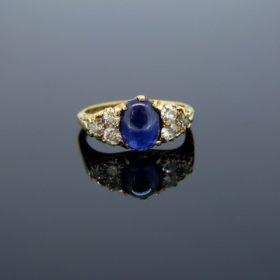 Victorian Cabochon Sapphire Diamonds Ring