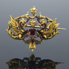 Antique Art Nouveau Griffin Garnet Brooch
