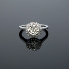 Diamond Solitaire Halo Ring, Platinum