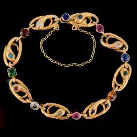 Art Nouveau Multi Snakes Gemstones Links Bracelet
