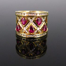 Ruby Diamonds Band Ring by Adler