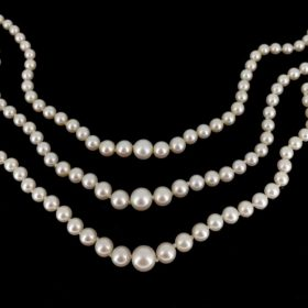 Vintage Three Row Cultured Pearls Necklace