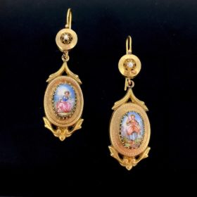 Antique French Victorian Enamel Earrings