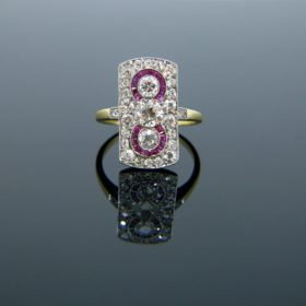 Edwardian Rubies and Diamonds Target Ring