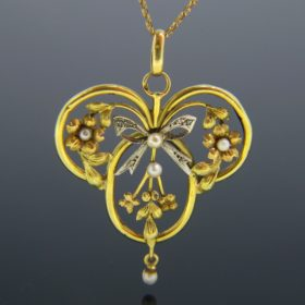 Art Nouveau Natural Pearl & Rose Cut Pendant