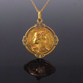 Art Nouveau French Gallia Locket Pendant