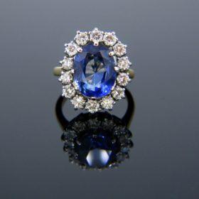 Ceylon Sapphire Diamonds Cluster Ring