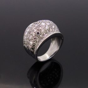 Retro Diamonds Pave Bombe Dome Ring