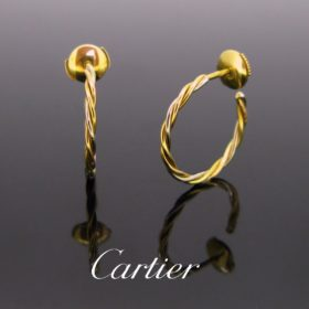 Two Gold Hoop Studs Earrings by Cartier
