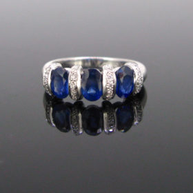 Sapphires & Diamonds White Gold Ring