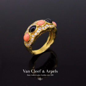 Coral, Onyx and Diamonds Ring by VCA