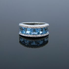 Topaz & Diamonds White Gold Ring