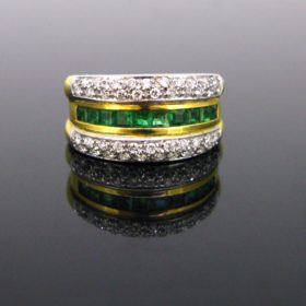 Contemporary Emerald & Diamond Pave Ring
