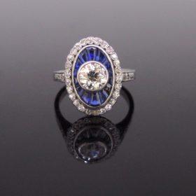 Art Deco Diamond Sapphire Target Ring