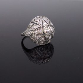 Edwardian Belle Epoque Diamonds Bombe Ring