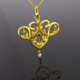 Art Nouveau Natural Pearl Pendant