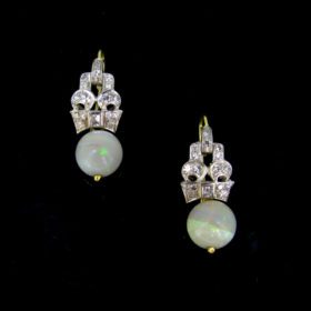 Art Deco Style Opal Diamonds Earrings