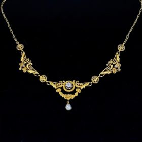Art Nouveau Diamonds Pearl Draperie Necklace